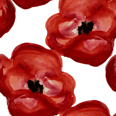 red poppy: Elegant seamless pattern with watercolor painted red poppy flowers, design elements