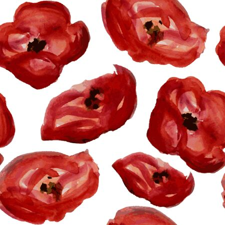 red poppy: Elegant seamless pattern with watercolor painted red poppy flowers, design elements.