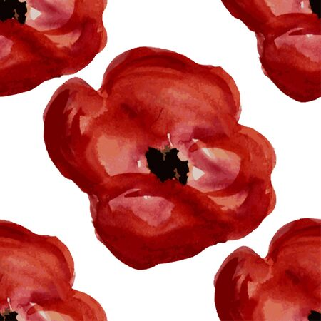 red poppy: Elegant seamless pattern with watercolor painted red poppy flowers, design elements. Illustration