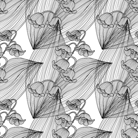 lily of the valley: Elegant seamless pattern with hand drawn decorative lily of the valley flowers, design elements. Floral pattern for wedding invitations, greeting cards, scrapbooking, print, gift wrap, manufacturing.