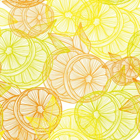 lemon: Elegant seamless pattern with hand drawn decorative lemon fruits, design elements. Can be used for invitations, greeting cards, scrapbooking, print, gift wrap, manufacturing. Food background Illustration