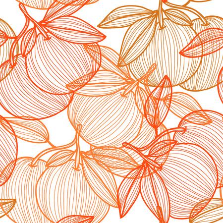 手描きの装飾的なグレープフルーツ、デザイン要素とエレガントなシームレスなパターン。招待状、グリーティングカード、スクラップブッキング