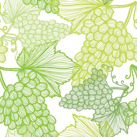 grapes: Modelo inconsútil elegante con dibujados a mano las uvas decorativas, elementos de diseño. Puede ser utilizado para las invitaciones, tarjetas de felicitación, scrapbooking, de impresión, papel de regalo, de fabricación. Fondo de alimentos Vectores