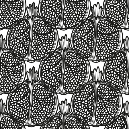 Elegant seamless pattern with hand drawn decorative pomegranates, design elements. Can be used for invitations, greeting cards, scrapbooking, print, gift wrap, manufacturing. Food background