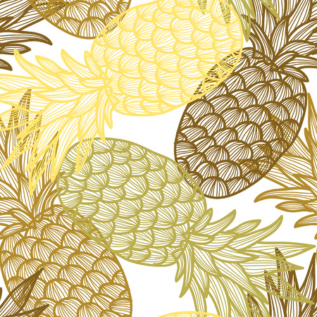 pineapple: Elegant seamless pattern with hand drawn decorative pineapples, design elements. Can be used for invitations, greeting cards, scrapbooking, print, gift wrap, manufacturing. Food background