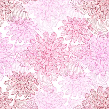 decorative design: Elegant seamless pattern with hand drawn decorative gerbera flowers, design elements. Floral pattern for wedding invitations, greeting cards, scrapbooking, print, gift wrap, manufacturing.