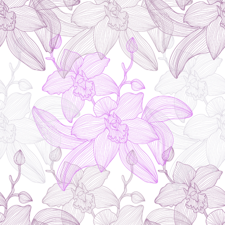 orchid: Elegant seamless pattern with hand drawn decorative orchid flowers, design elements. Floral pattern for wedding invitations, greeting cards, scrapbooking, print, gift wrap, manufacturing.