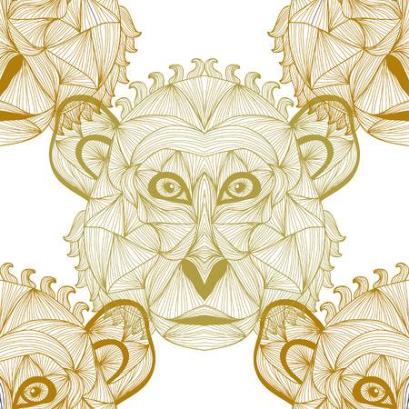 abstract gorilla: Elegant seamless pattern with hand drawn decorative monkeys, design elements