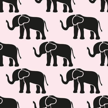 indian fabric: Elegant seamless pattern with abstract elephant symbols, design elements