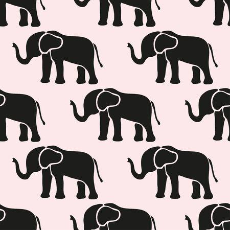 ELEFANTE: Modelo inconsútil elegante con símbolos de elefante abstracto, elementos de diseño Vectores