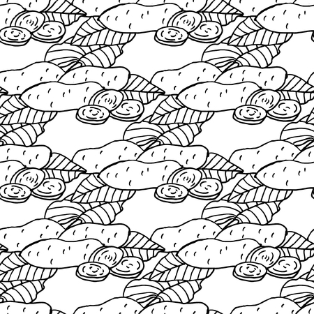 yam: Elegant seamless pattern with hand drawn yam, design elements. Can be used for invitations, greeting cards, scrapbooking, print, gift wrap, manufacturing. Food background