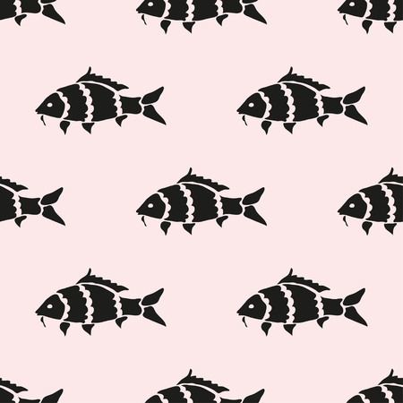 coi carp: Elegant seamless pattern with abstract carp symbols, design elements. Can be used for invitations, greeting cards, scrapbooking, print, gift wrap, manufacturing. Marine theme