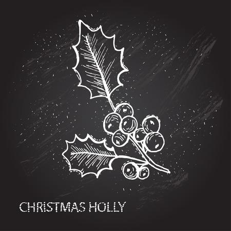 muerdago: Dibujado a mano decorativos de navidad acebo, elemento de dise�o. Puede ser utilizado para las tarjetas, invitaciones, papel de regalo, la impresi�n, el scrapbooking. Navidad y a�o nuevo. Pizarra