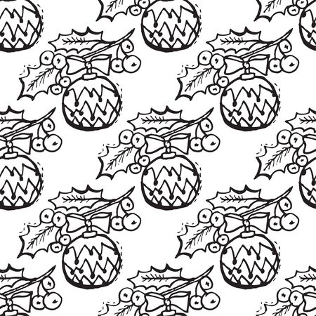 25 december: Elegant seamless pattern with hand drawn holly berries and decorations, design elements. Can be used for winter holiday invitations, greeting cards, scrapbooking, print, gift wrap, manufacturing Illustration