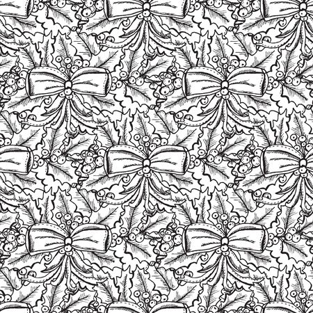 25 december: Elegant seamless pattern with hand drawn decorative holly berries and bows, design elements. Can be used for winter holiday invitations, greeting cards, scrapbooking, print, gift wrap, manufacturing