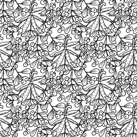 25 december: Elegant seamless pattern with hand drawn decorative mistletoe plants, design elements. Can be used for winter holiday invitations, greeting cards, scrapbooking, print, gift wrap, manufacturing Illustration