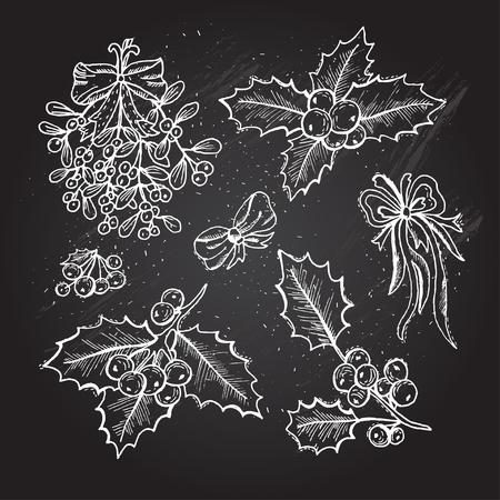 muerdago: Dibujado a mano decorativos de Navidad bayas de acebo y mu�rdago, elementos de dise�o. Puede ser utilizado para las tarjetas, invitaciones, papel de regalo, la impresi�n, el scrapbooking. Navidad y A�o Nuevo fondo. pizarra Vectores