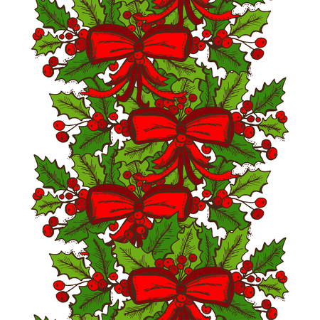 25 december: Elegant seamless pattern with hand drawn christmas decorations, design elements. Can be used for winter holiday invitations, greeting cards, scrapbooking, print, gift wrap, manufacturing