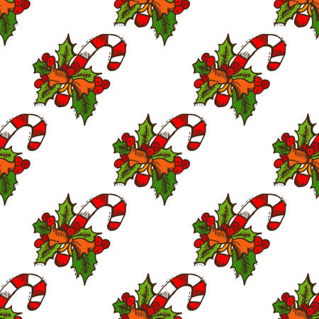 25 december: Elegant seamless pattern with hand drawn christmas candies and holly berries, design elements. Can be used for winter holiday invitations, greeting cards, scrapbooking, print, gift wrap, manufacturing Illustration