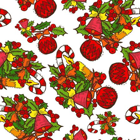 25 december: Elegant seamless pattern with christmas decorations and holly berries, design elements. Can be used for winter holiday invitations, greeting cards, scrapbooking, print, gift wrap, manufacturing
