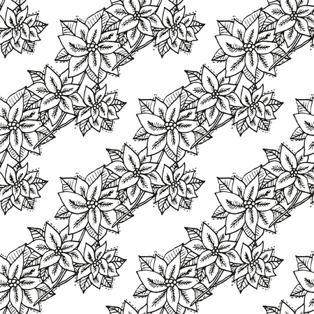 25 december: Elegant seamless pattern with hand drawn decorative poinsettia flowers, design elements. Can be used for winter holiday invitations, greeting cards, scrapbooking, print, gift wrap, manufacturing Illustration