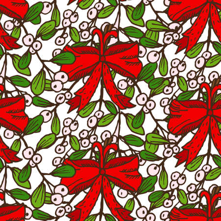 25 december: Elegant seamless pattern with hand drawn decorative mistletoes, design elements. Can be used for winter holiday invitations, greeting cards, scrapbooking, print, gift wrap, manufacturing