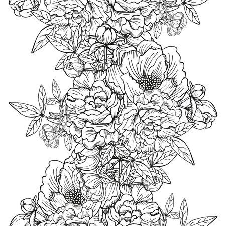 decorative design: Elegant seamless pattern with hand drawn decorative peony bouquets, design elements. Floral pattern for wedding invitations, greeting cards, scrapbooking, print, gift wrap, manufacturing.