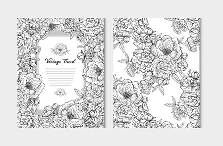 flower decoration: Elegant cards with decorative peony flowers, design elements. Can be used for wedding, baby shower, mothers day, valentines day, birthday cards, invitations, greetings. Vintage decorative flowers.