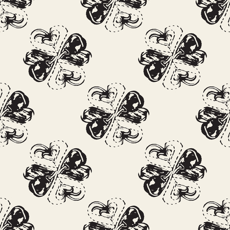 four leaf clovers: Abstract seamless pattern with brush strokes, design element. Four leaf clovers texture. Can be used for invitations, greeting cards, scrapbooking, print, gift wrap, manufacturing. Grunge background Illustration