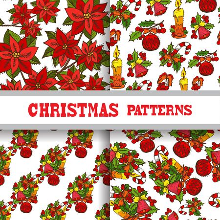 25 december: Elegant seamless patterns with hand drawn christmas decorations, design elements. Can be used for winter holiday invitations, greeting cards, scrapbooking, print, gift wrap, manufacturing Illustration
