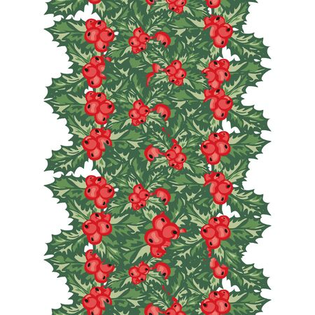 25 december: Elegant seamless pattern with hand drawn decorative holly berries, design elements. Can be used for winter holiday invitations, greeting cards, scrapbooking, print, gift wrap, manufacturing