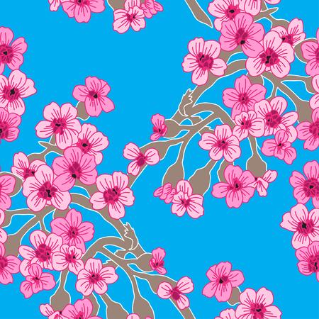 손으로 우아한 원활한 패턴 장식 벚꽃 꽃, 디자인 요소를 그려. 결혼식 초대장, 인사말 카드, 스크랩북, 인쇄, 선물 포장, 제조 꽃 패턴입니다.