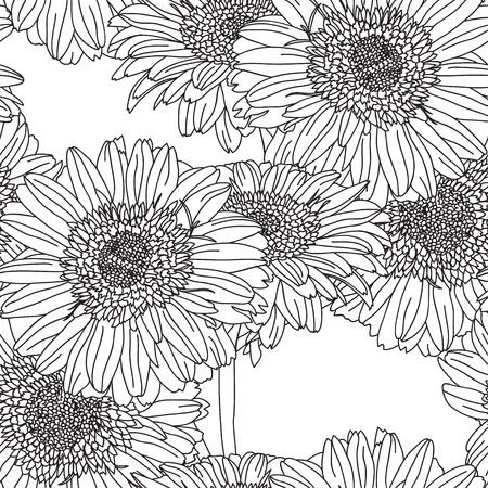 gerbera: Elegant seamless pattern with hand drawn decorative gerbera flowers, design elements. Floral pattern for wedding invitations, greeting cards, scrapbooking, print, gift wrap, manufacturing.