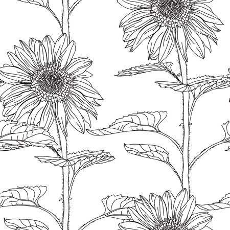 decorative design: Elegant seamless pattern with hand drawn decorative sunflowers, design elements. Floral pattern for wedding invitations, greeting cards, scrapbooking, print, gift wrap, manufacturing.