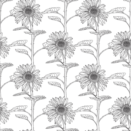 tileable: Elegant seamless pattern with hand drawn decorative sunflowers, design elements. Floral pattern for wedding invitations, greeting cards, scrapbooking, print, gift wrap, manufacturing.