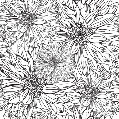 decorative design: Elegant seamless pattern with hand drawn decorative chrysanthemum flowers, design elements. Floral pattern for wedding invitations, greeting cards, scrapbooking, print, gift wrap, manufacturing.