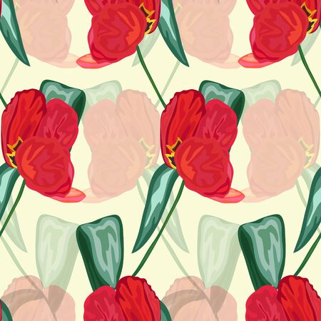 red tulip: Elegant seamless pattern with hand drawn decorative red tulip flowers, design elements. Floral pattern for wedding invitations, greeting cards, scrapbooking, print, gift wrap, manufacturing