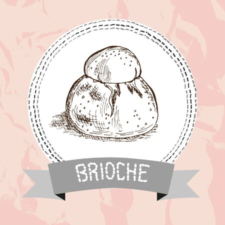 french bakery: Hand drawn brioche sketch. Can be used for vintage food invitations, cards, banners, prints, patterns, emblems, bakery, restaurant, cafe menu. Food background. Italian or french breakfast element Illustration