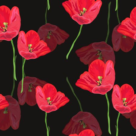 red tulip: Elegant seamless pattern with hand drawn decorative red tulip flowers, design elements. Floral pattern for invitations, cards, scrapbooking, print, gift wrap, fabric