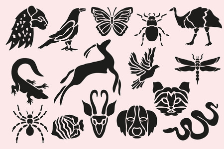 Abstract animal, insects, birds and fishes symbols set, design elements. Can be used for invitations, greeting cards, scrapbooking, print, labels, emblems, manufacturing. Animal theme Stock Illustratie
