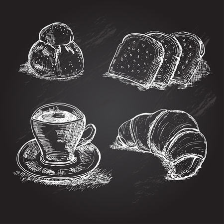 italian tradition: Hand drawn italian or frenchbreakfast elements, can be used for vintage food invitations, cards, prints, patterns, emblems, bakery, restaurant, cafe menu.Chalboard food background.