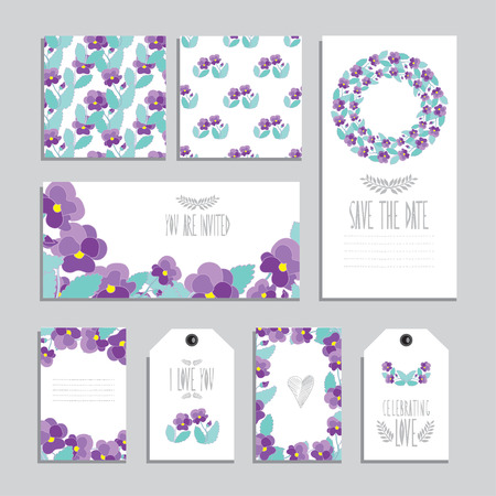 pansy: Elegant cards and gift tags with pansy floral bouquets, design elements. Can be used for wedding, baby shower, mothers day, valentines day, birthday cards, invitations. Vintage decorative flowers Illustration