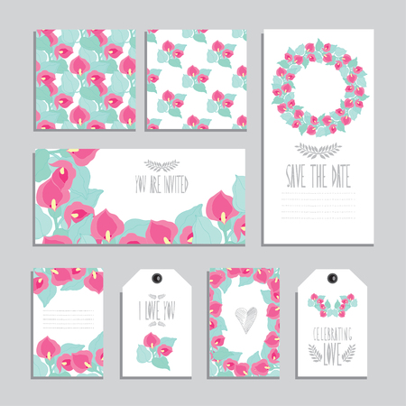elegant cards and gift tags with calla floral bouquets design