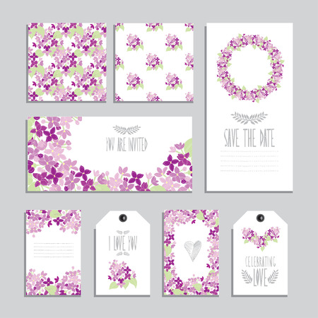 Elegant cards and gift tags with lilac floral bouquets, design elements. Can be used for wedding, baby shower, mothers day, valentines day, birthday cards, invitations. Vintage decorative flowers