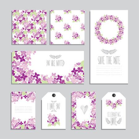 Tarjetas elegantes y etiquetas de regalo con ramos de flores lila, elementos de diseño. Puede ser utilizado para la boda, ducha del bebé, día de madres, del día de san, tarjetas de cumpleaños, invitaciones. flores decorativas de la vendimia