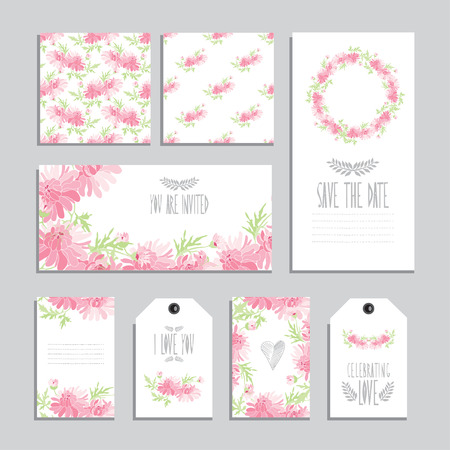 Elegant Cards And Gift Tags With Chrysanthemum Floral Bouquets