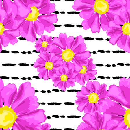 aster: Elegant seamless pattern with hand drawn decorative pink zinnia flowers, design elements. Floral pattern for wedding invitations, greeting cards, scrapbooking, print, gift wrap, manufacturing. Illustration