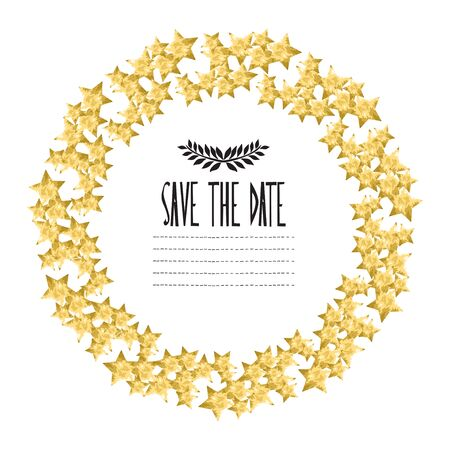 gold star mother's day: Elegant wreath with golden stars, design element. Can be used for wedding, baby shower, mothers day, valentines day, birthday cards, invitations Illustration