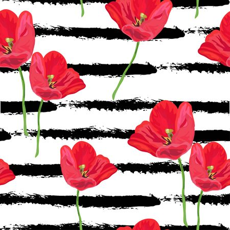 red tulip: Elegant seamless pattern with hand drawn decorative red tulip flowers, design elements. Can be used for invitations, greeting cards, scrapbooking, print, gift wrap, manufacturing. Stripe background