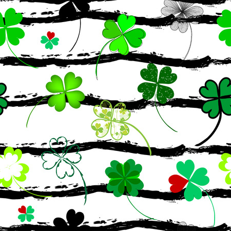 fourleaf: Elegant seamless pattern with hand drawn decorative fourleaf clovers, design elements. Can be used for invitations, greeting cards, scrapbooking, print, gift wrap, manufacturing. Stripe background